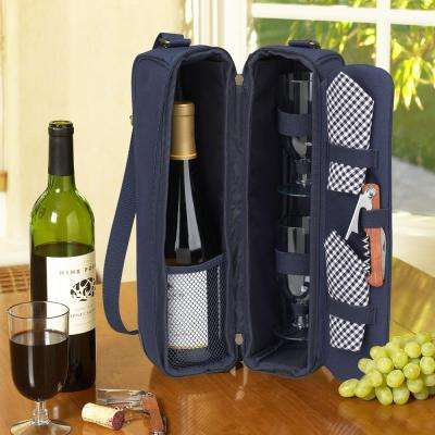 Sunset Navy Blue Wine Tote for 2 with Glasses