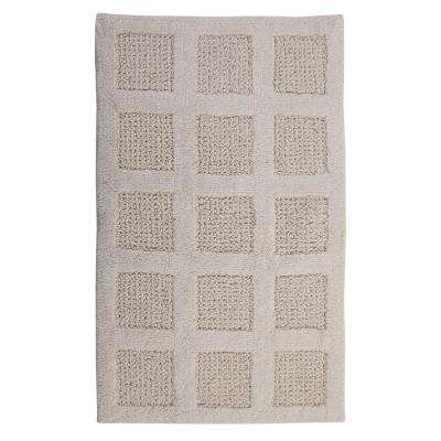 Square Honeycomb Ivory 24 in. x 17 in. Reversible Bath Rug