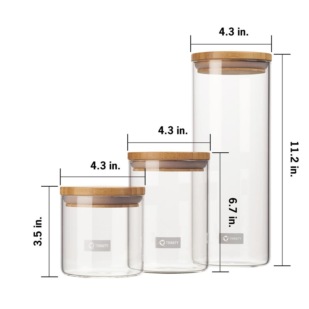 3 piece glass and bamboo canister set b
