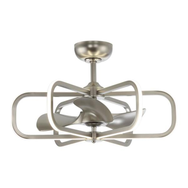 29 in. LED Indoor Satin Nickel Downrod Mount Chandelier Ceiling Fan with Light and Remote Control