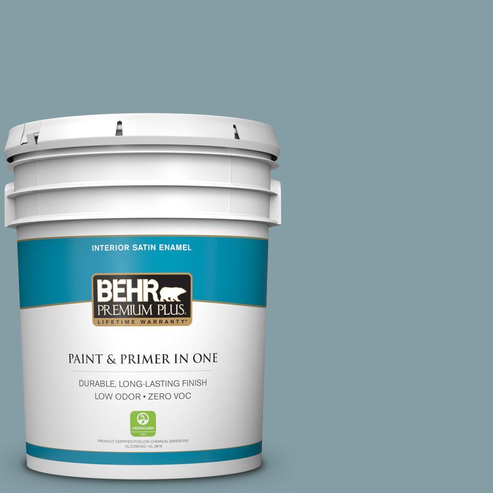 BEHR Premium Plus 5-gal. #BNC-18 Aqua Gray Satin Enamel Interior Paint