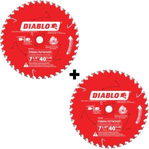 Deals on 2-Pack Diablo 7-1/4 in. x 40-Tooth Finish Saw Blade