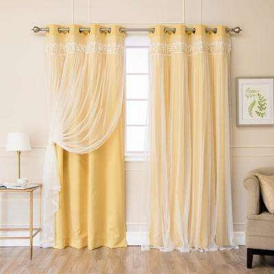 Sunlight 84 in. L Elis Lace Overlay Blackout Curtain Panel (2-Pack)