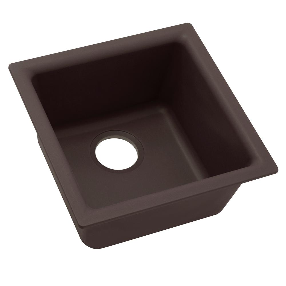 Premium Quartz Drop-In/Undermount Composite 16 in. Bar Sink in Chestnut
