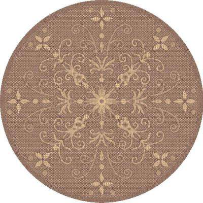 Piazza Brown 5 ft. x 5 ft. Round Indoor/Outdoor Area Rug