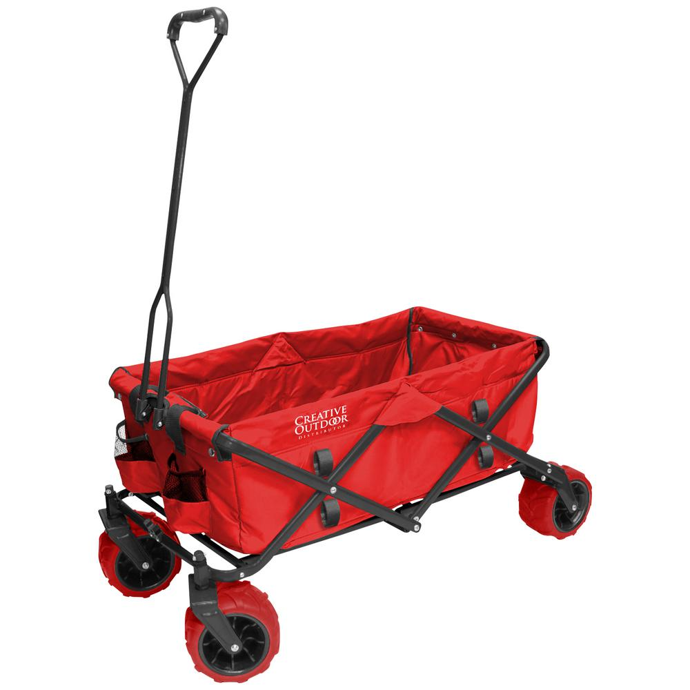 7 cu. ft. Folding Garden Wagon Carts in Red