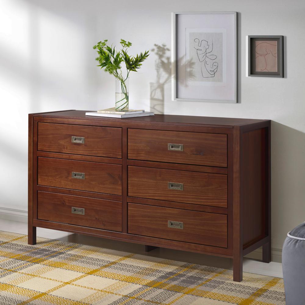 57'' Classic Solid Wood 6-Drawer Dresser - Walnut