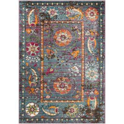 Caius Multi-color 5 ft. 3 in. x 7 ft. 3 in. Distressed Area Rug