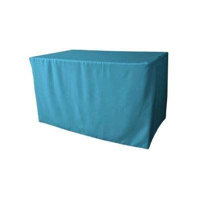 48 in. L x 24 in. W x 30 in. H Dark Turquoise Polyester Poplin Fitted Tablecloth