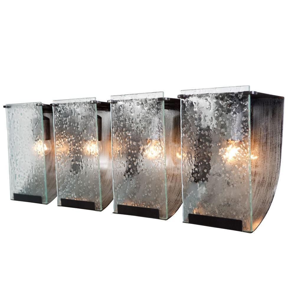 Rain 4-Light Rainy Night Bath Vanity Light with Recycled Hand-Pressed Glass