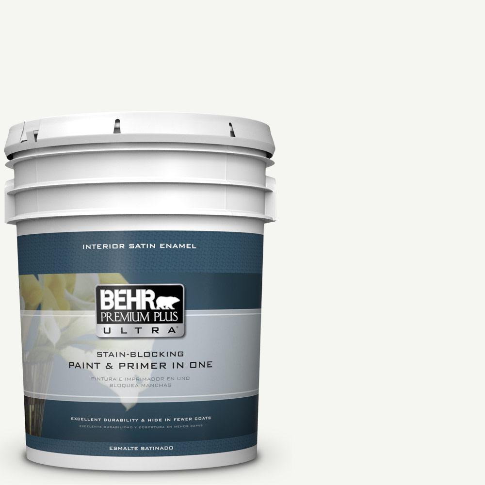 5 gal. #HDC-CT-18G Cotton Ball Satin Enamel Interior Paint