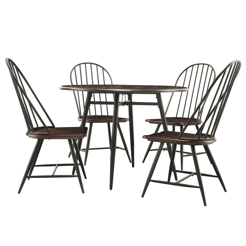 New Haven 5-Piece Dark Oak and Black Dining Set