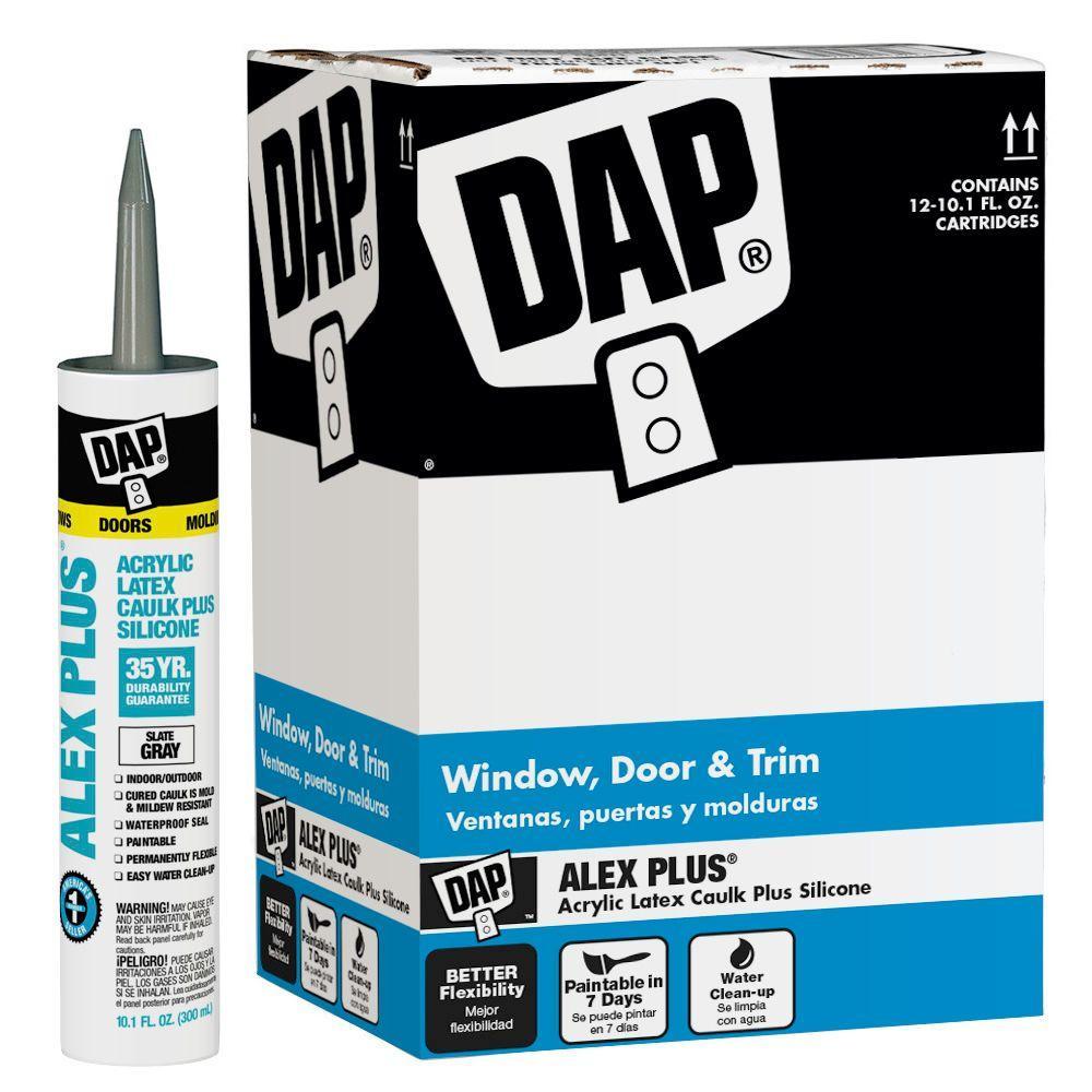 DAP Alex Plus 10.1 oz. Gray Slate Acrylic Latex Caulk Plus Silicone (12-Pack)