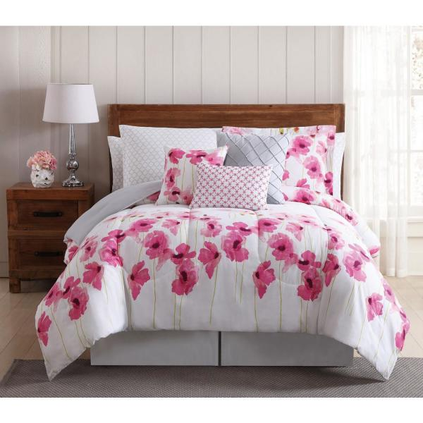 Style 212 Springfield Floral 12-Piece Multi-Color Queen Bed Ensemble