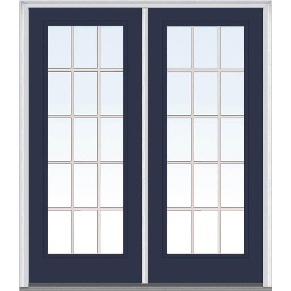 72 in. x 80 in. Grilles Between Glass Left-Hand Full Lite Classic Painted Steel Prehung Front Door