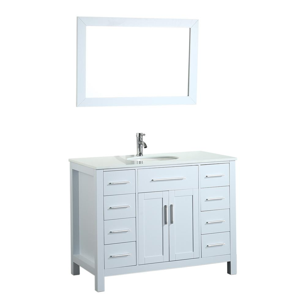Bosconi Bosconi 43.3 in. Single Vanity in White with Pheonix Stone Vanity Top, White Basin and Mirror