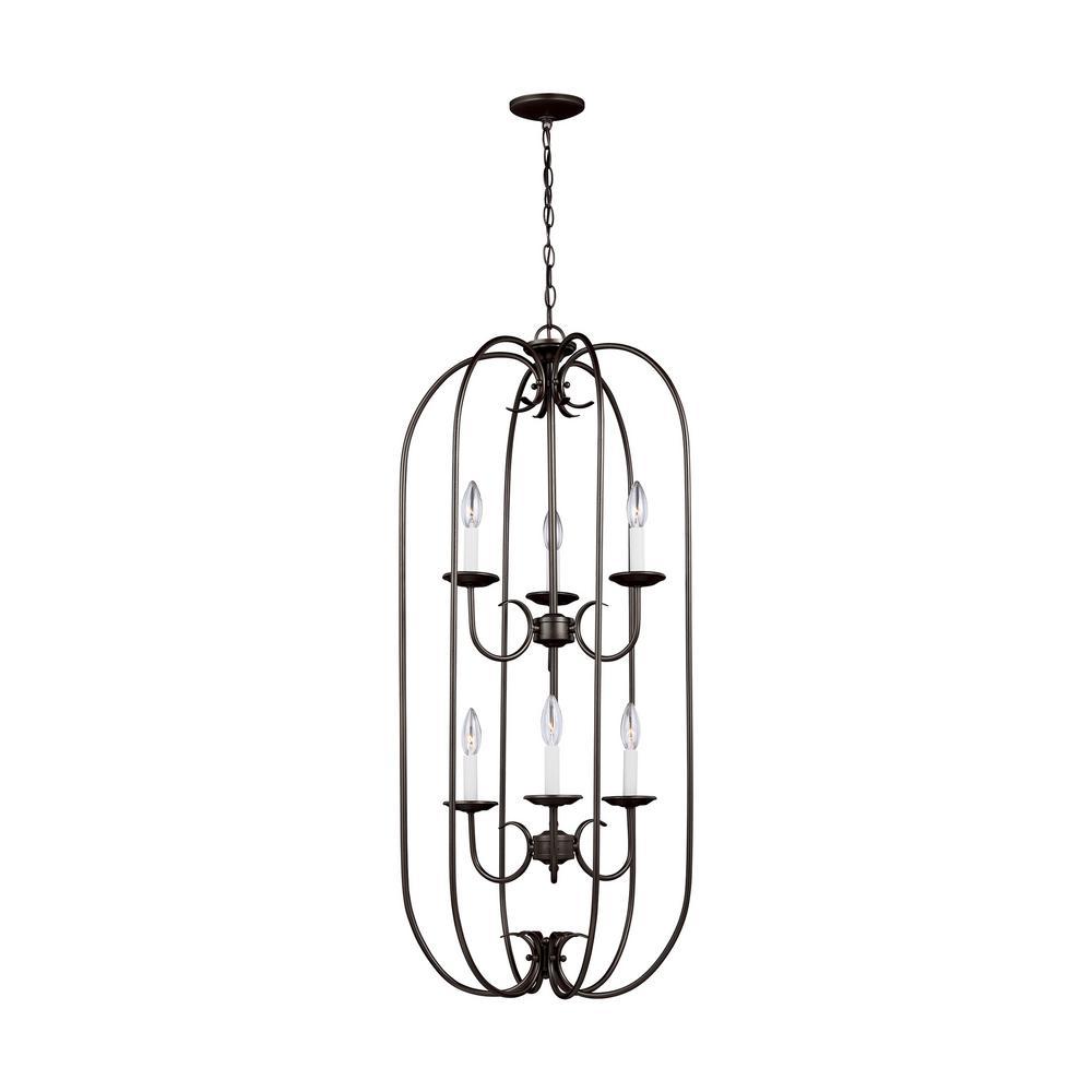 Holman 6-Light Heirloom Bronze Pendant with Dimmable Candelabra LED Bulb