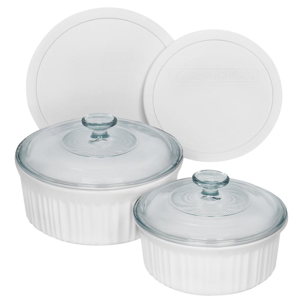 Corningware Corningware French 6-Piece White Bakeware Set with Lids, French White