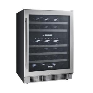 Click here to buy TiTAN 46-Bottle Seamless Stainless Steel Dual Zone Built-In Wine Cooler by TiTAN.