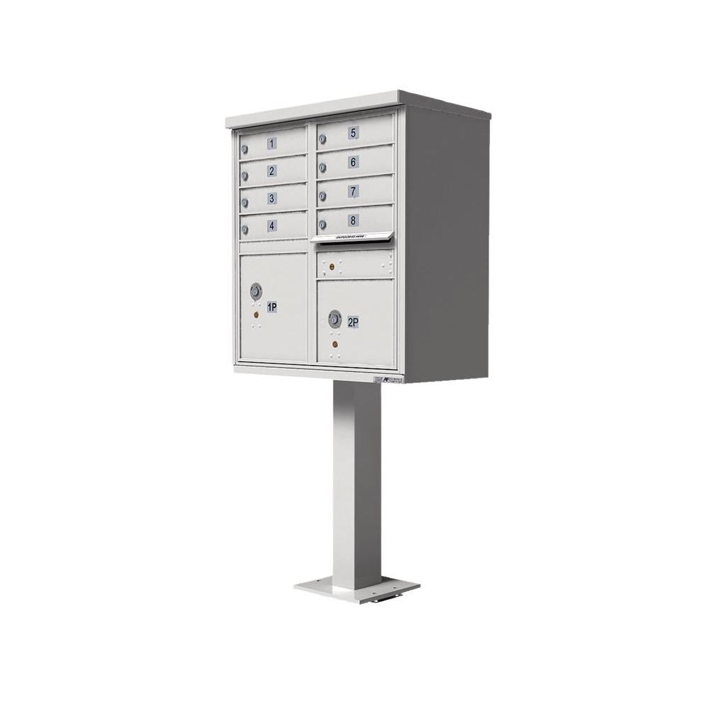 Florence Vital 1570 8 Mailboxes 1 Outgoing 2 Parcel Lockers Pedestal Mount Cluster Box Unit