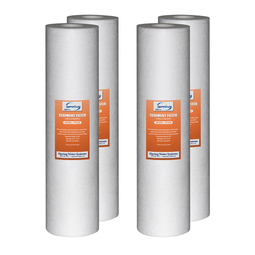 """1 Micron 4.5/"""" x 20/"""" Replacement Big Blue Sediment Filter Set for Whole House"""