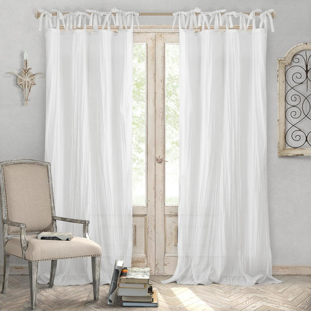 Elrene Jolie White Crushed Semi Sheer Tie Top Window Curtain - 52 in ...