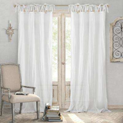 Jolie White Crushed Semi Sheer Tie Top Window Curtain - 52 in. W x 108 in. L