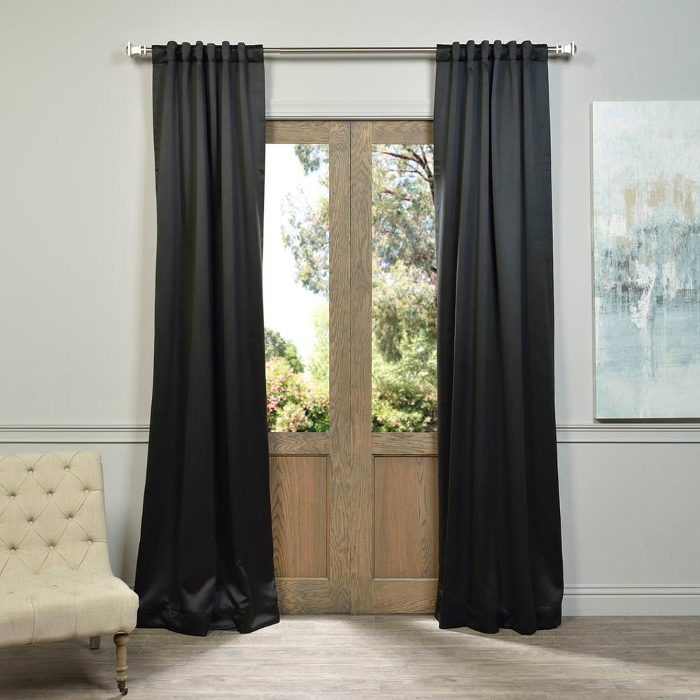 Exclusive Fabrics & Furnishings Semi-Opaque Jet Black Blackout Curtain - 50 in. W x 108 in. L (Panel)