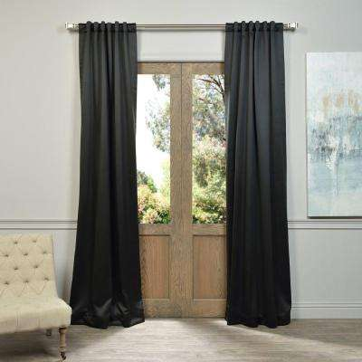 Semi-Opaque Jet Black Blackout Curtain - 50 in. W x 108 in. L (Panel)