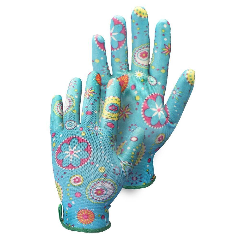 Medium Size 8 Blue Nitrile-Dipped Garden Gloves