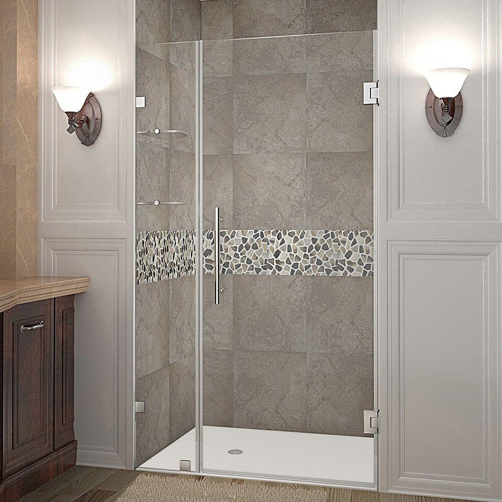 Aston Nautis GS 41 in. x 72 in. Frameless Hinged Shower Door in Stainless Steel with Glass Shelves