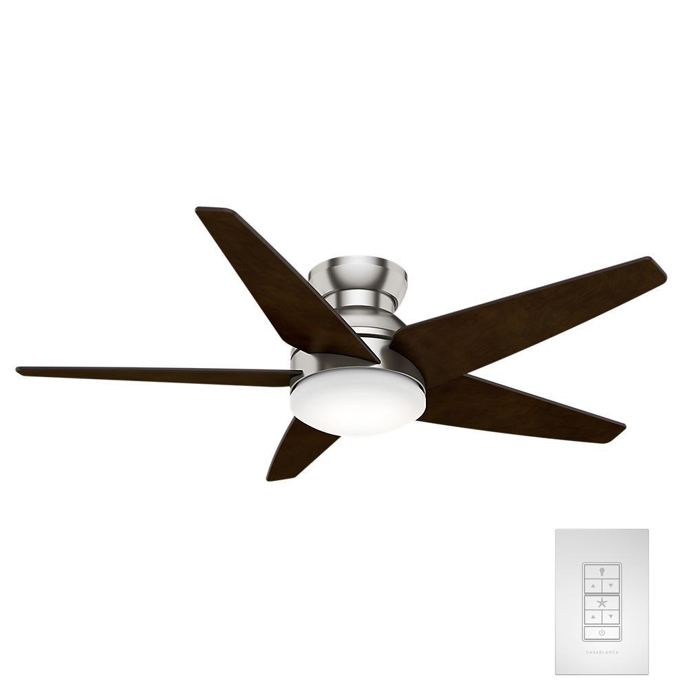 Isotope 52 in. LED Indoor Brushed Nickel Ceiling Fan with Light