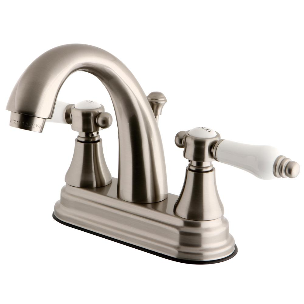 Kingston Brass English Porcelain 4 In Centerset 2 Handle High Arc Bathroom Faucet In Satin