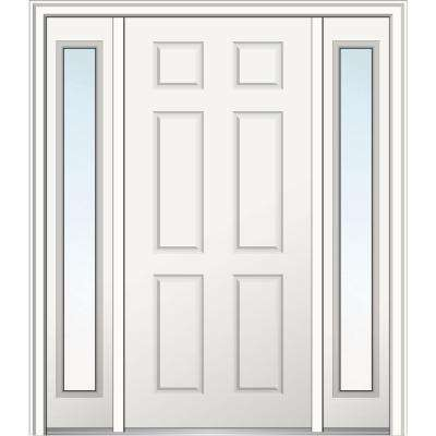 64 in. x 80 in. 6-Panel Left-Hand Classic Primed Fiberglass Smooth Prehung Front Door with Sidelites