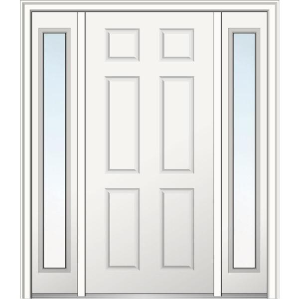 68.5 in. x 81.75 in. 6-Panel Right-Hand Inswing Classic Primed Fiberglass Smooth Prehung Front Door with Sidelites
