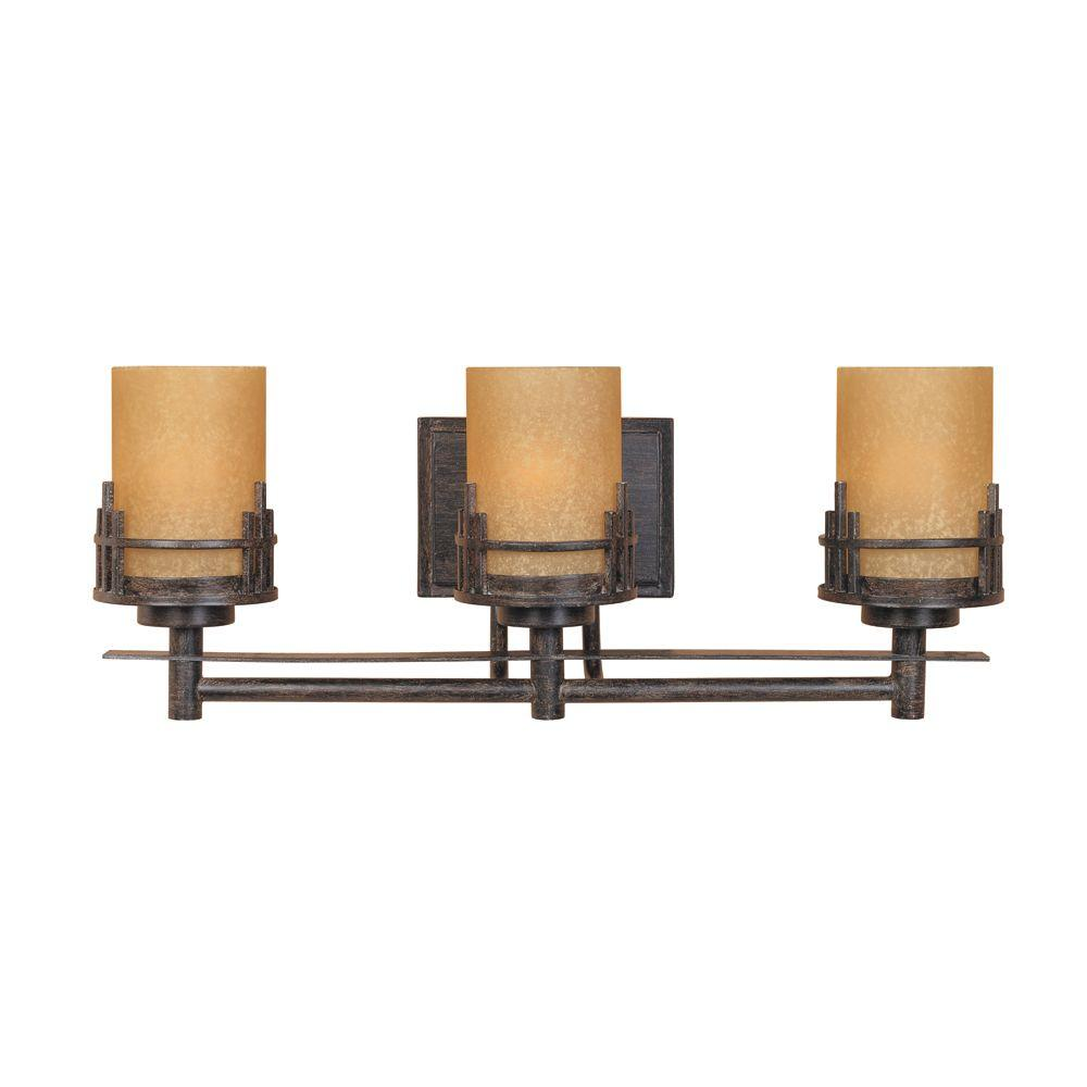 Mount Vanity Light Up Or Down : Designers Fountain Mission Hills Collection 3-Light Warm Mahogany Wall Mount Vanity Light-82103 ...