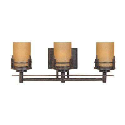Mission Ridge 3-Light Warm Mahogany Wall Mount Vanity Light