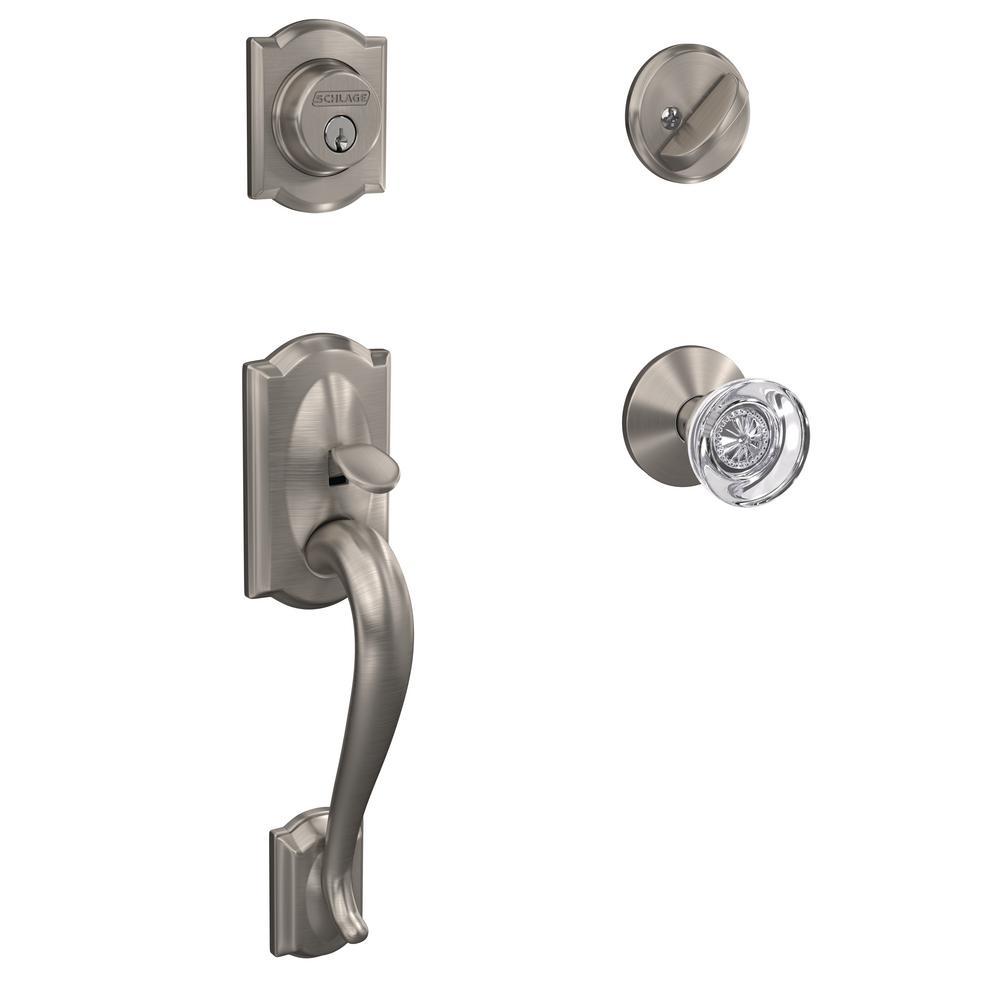 Schlage Camelot Satin Nickel Entry Door Handle With