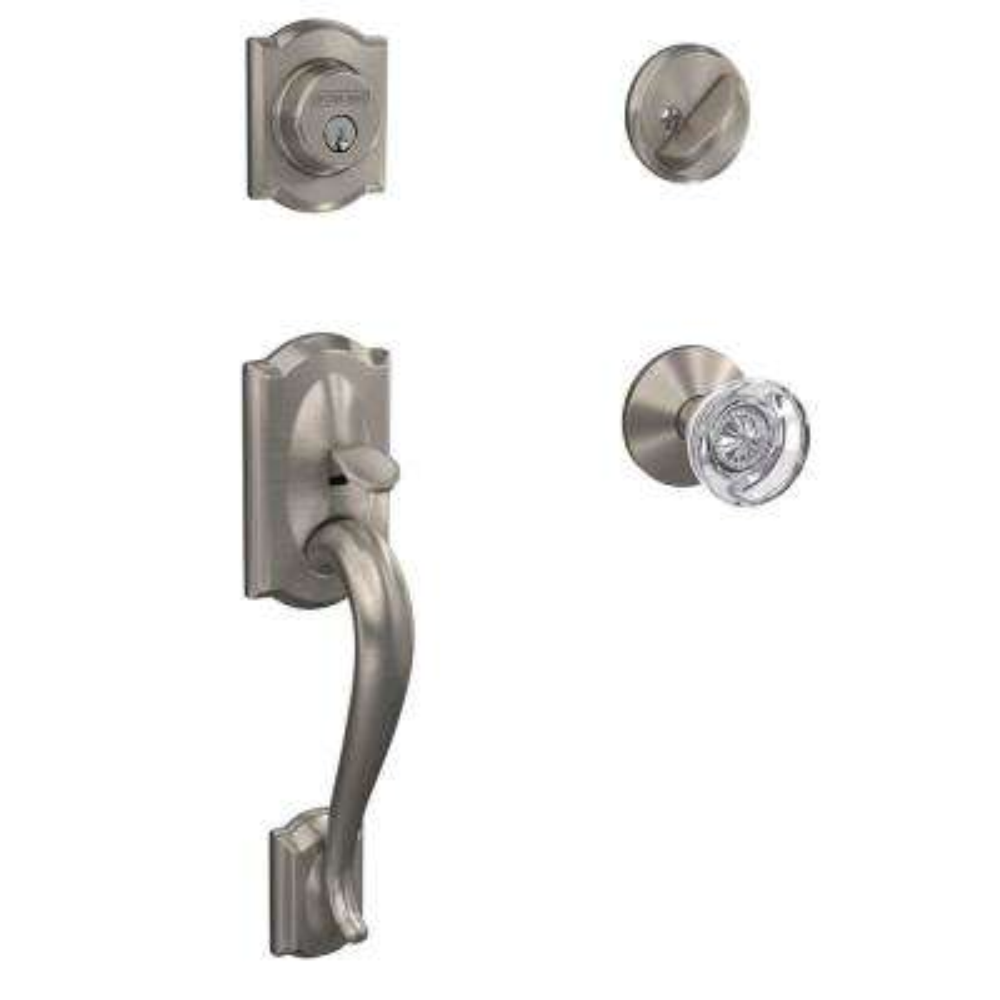 Custom Camelot Satin Nickel Single Cylinder with Hobson Glass Knob Handleset