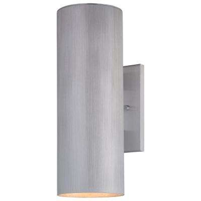 Skyline 2-Light Brushed Aluminum Outdoor Wall Mount Lantern