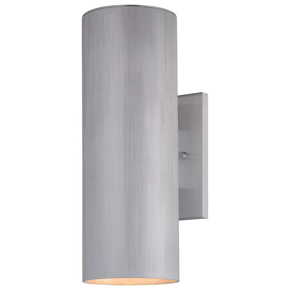 Skyline 2-Light Brushed Aluminum Outdoor Wall Mount Lantern