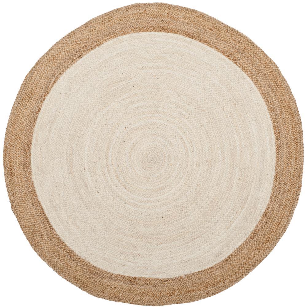 Natural Fiber Ivory Beige 3 Ft X Round Area Rug