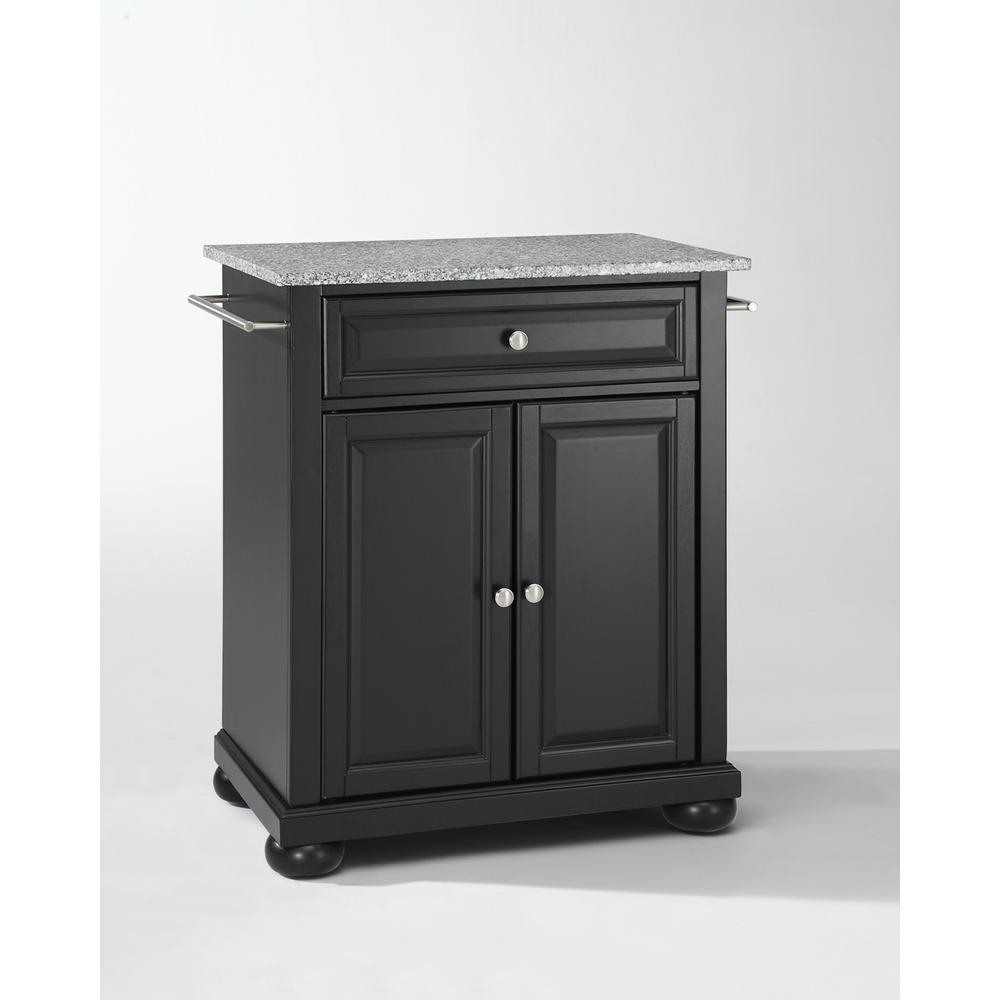 Portable Kitchen Island: Crosley Alexandria Black Solid Granite Top Portable