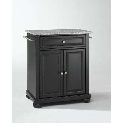 Alexandria Black Solid Granite Top Portable Kitchen Island