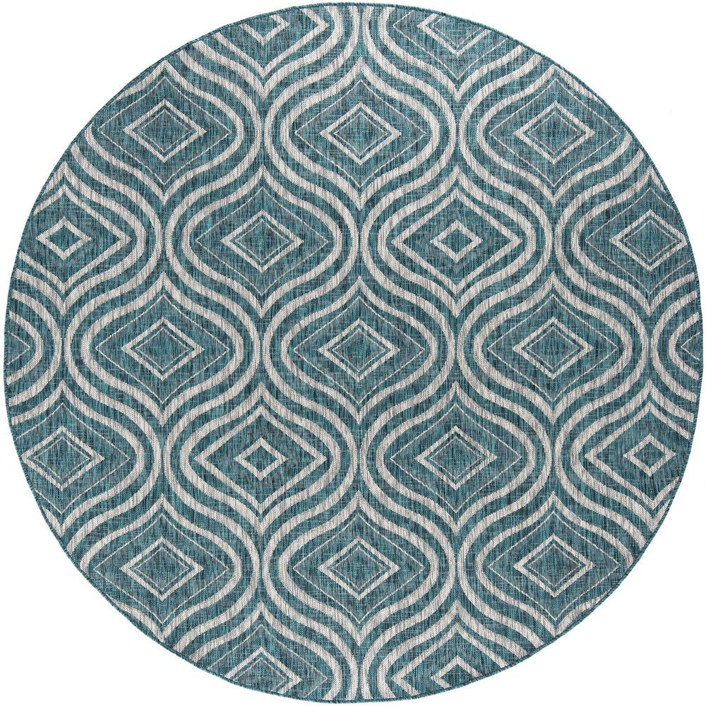 Tayse Rugs Veranda Aqua 5 Ft 3 In Contemporary Round Area Rug