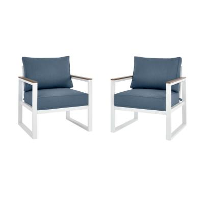 West Park White Aluminum Outdoor Patio Lounge Chair with Sunbrella Denim Blue Cushions (2-Pack)