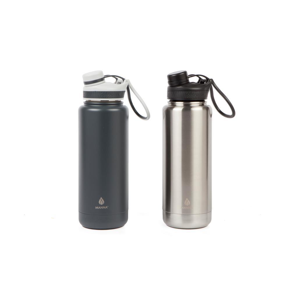 Ranger Pro 40 oz. Gray Stainless and Slate Stainless Steel Vacuum Bottle (2-Pack)