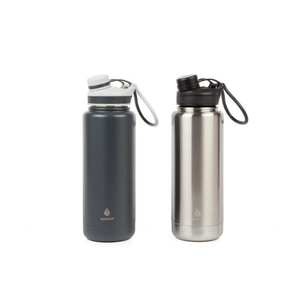 a1bcc6b275 Manna Ranger Pro 40 oz. Gray Stainless and Slate Stainless Steel Vacuum  Bottle (2