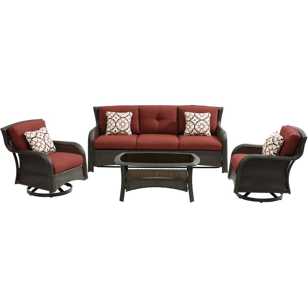 Miraculous Hanover Strathmere 4 Piece Wicker Patio Sectional Seating Set With Crimson Red Cushions Spiritservingveterans Wood Chair Design Ideas Spiritservingveteransorg