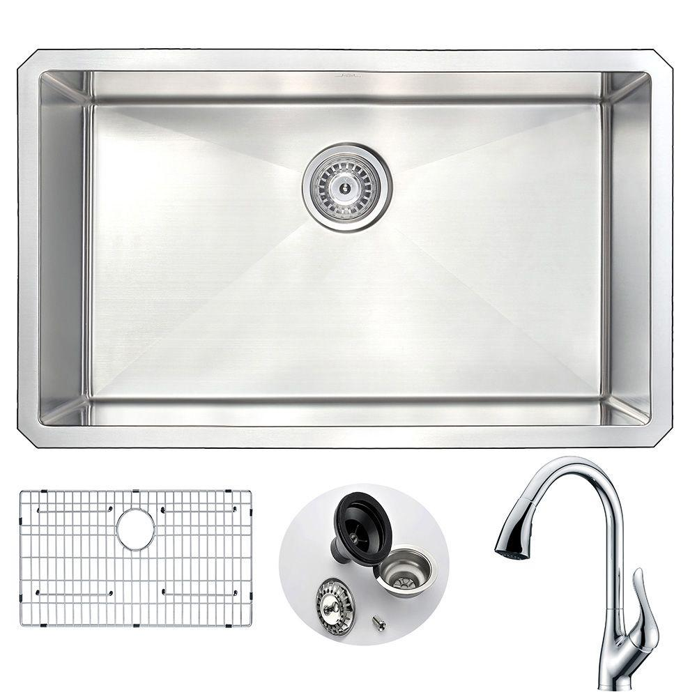 anzzi vanguard undermount stainless steel 30 in. single bowl